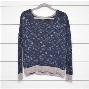 Rag & Bone Space Dyed V Neck Pullover Knit Sweater